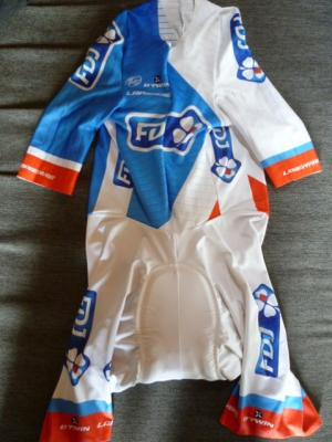 Combinaison CLM FDJ (cuissard blanc, taille S)