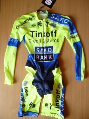 Combinaison CLM manches longues TINKOFF-SAXO (fluo TDF)