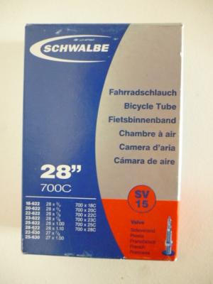 Chambre à air SCHWALBE (700X18/28, valve normale 40mm)